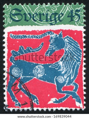 SWEDEN - CIRCA 1974: stamp printed by Sweden, shows Unicorn, circa 1974