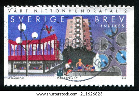 SWEDEN - CIRCA 1999: stamp printed by Sweden, shows Vallingby Centre, circa 1999