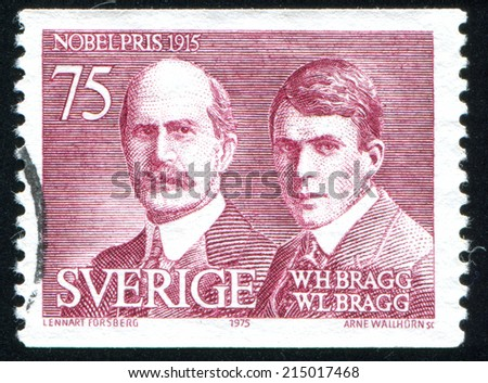 SWEDEN - CIRCA 1975: stamp printed by Sweden, shows William H.  and William L. Bragg, circa 1975 - stock photo