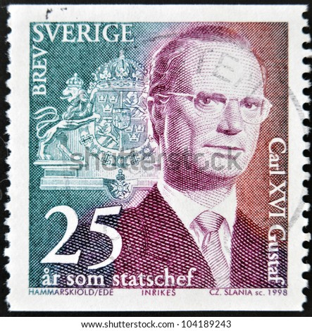 SWEDEN - CIRCA 1998: stamp printed in Sweden shows King Carl XVI Gustaf, circa 1998.
