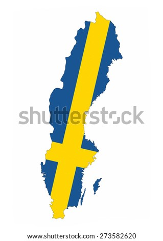 sweden country flag map shape national symbol - stock photo