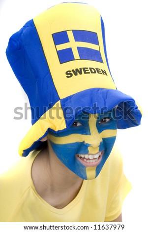 Sweden fan - stock photo