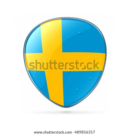 Sweden Flag Icon, isolated on white background.