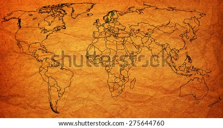 sweden flag on old vintage world map with national borders - stock photo