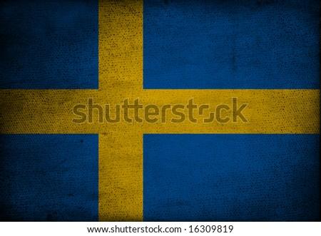 Sweden flag on vintage paper - stock photo