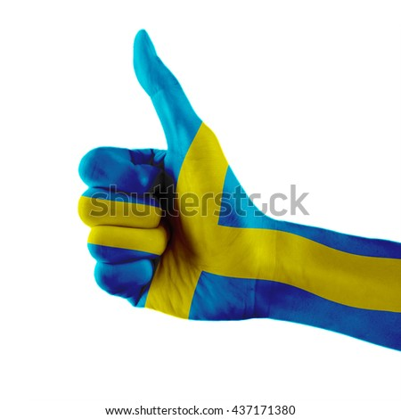 Sweden flag painted hand showing thumbs up sign on isolated white background with clipping path - stock photo