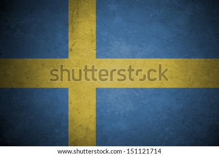 sweden  flag pattern on the concrete wall. - stock photo