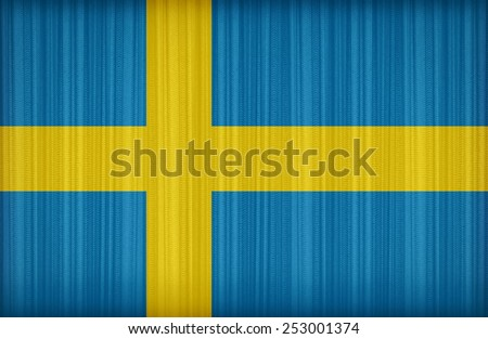 Sweden flag pattern on the fabric curtain,vintage style - stock photo