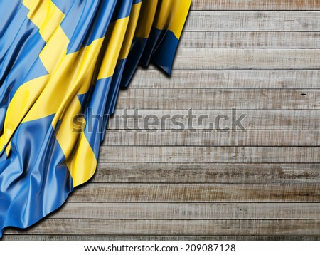 Sweden Flag with horizontal wood - stock photo
