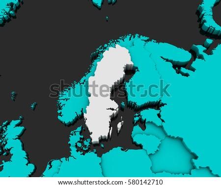 Sweden Map D Illustration Stock Illustration Shutterstock - Sweden map 3d