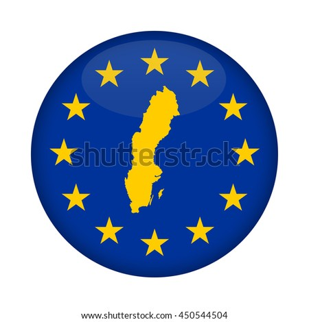 Sweden map on a European Union flag button isolated on a white background. - stock photo