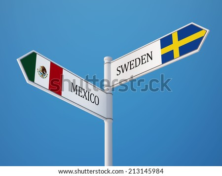 Sweden Mexico High Resolution Sign Flags Concept