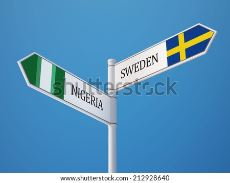 Sweden Nigeria High Resolution Sign Flags Concept