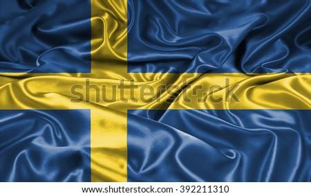 Sweden  silk flag - stock photo
