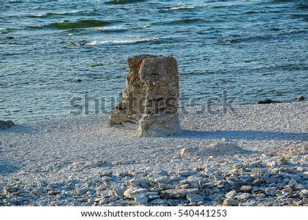 Sweden. Stone columns on the bank of Faro island.
