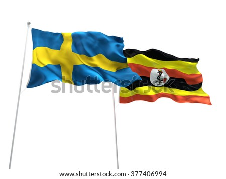 Sweden & Uganda Flags are waving on the isolated white background - stock photo