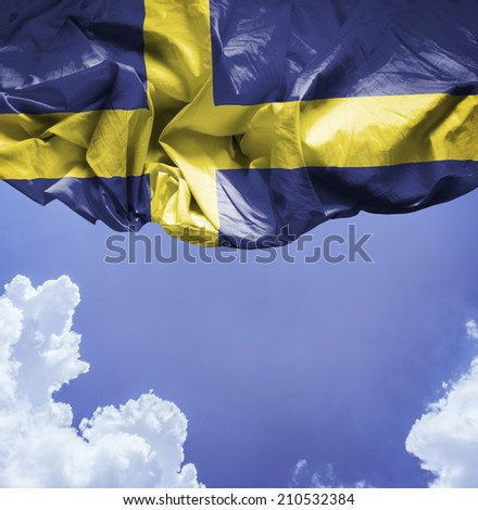 Sweden waving flag on a beautiful day - stock photo