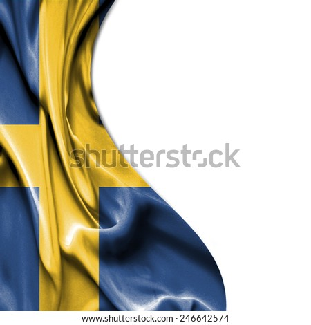 Sweden waving silky flag isolated on white background - stock photo