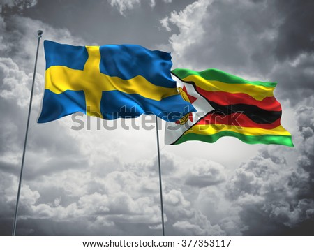 Sweden & Zimbabwe Flags are waving in the sky with dark clouds