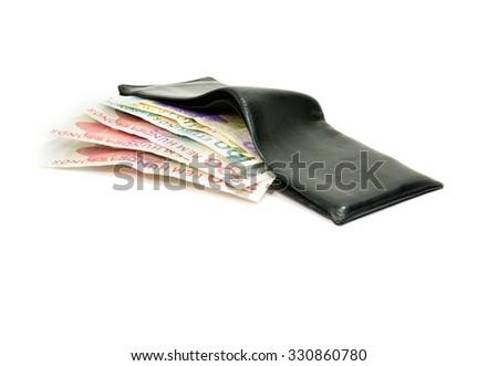 Swedish bank notes and wallet. - stock photo