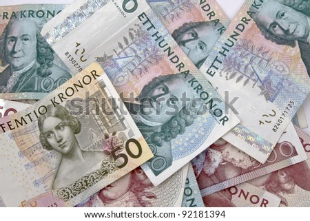 Swedish currency closeup on white background - stock photo