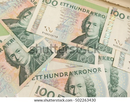 Swedish currency SEK from Sweden useful as a background