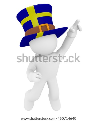 Swedish fan jumping high with the flag of Sweden on his hat 3d rendering - stock photo