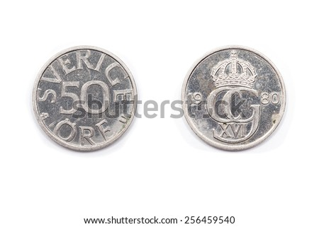 Swedish fifty Ore coin dated 1980. - stock photo