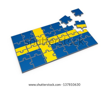 Swedish flag made of puzzles.Isolated on white.3d rendered. - stock photo