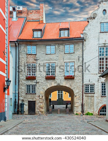 Swedish gate in old Riga. Riga is the capital and largest city of Latvia, a major commercial, cultural, historical, tourist and financial center of the Baltic region - stock photo