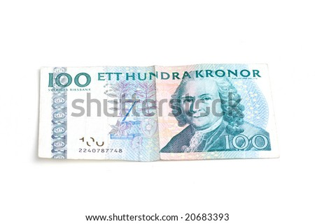 Swedish hundred kronor bill - stock photo