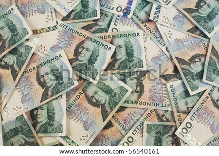Swedish hundred kronor bills background - stock photo