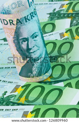 swedish krona, the currency of sweden. european and euro banknotes - stock photo
