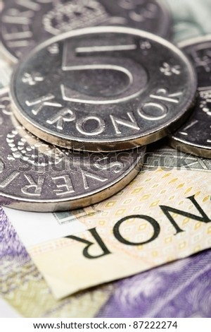 Swedish krones, coins and banknotes - stock photo