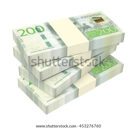 Swedish kronor isolated on white background. 3D illustration.