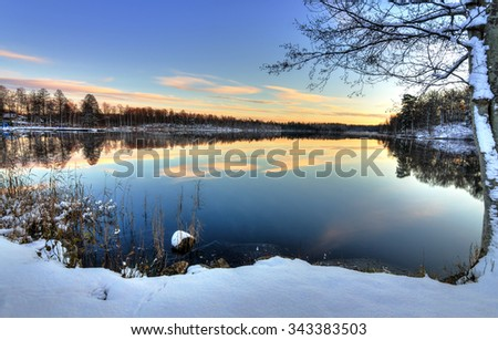 Swedish lake sunset in firs winter season