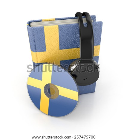 Swedish language learning concept with cd, book and headphones. 3d render. Audio Book - stock photo