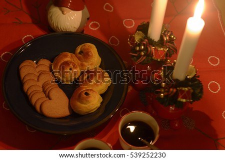 Swedish Lucia celebration with Lucia buns, ginger cookies and mulled wine