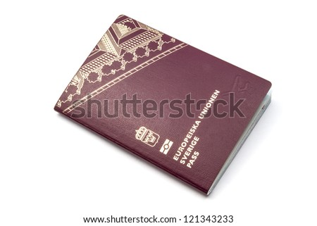 Swedish passport isolated on white background