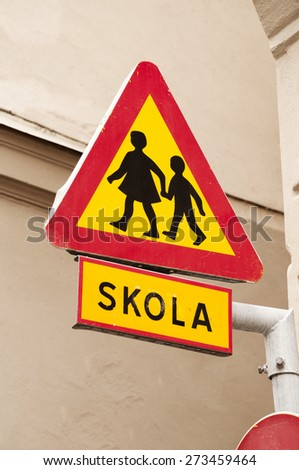 Swedish school sign - stock photo