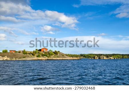 Swedish sea archipelago - stock photo