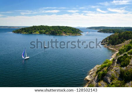 Swedish sea archipelago with sailboats