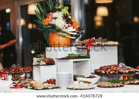 Swedish table with appetizers and meat - stock photo