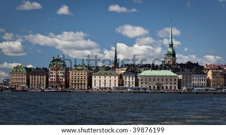 Swedish waterfront in Gamla Stan, Stockholm, Sweden