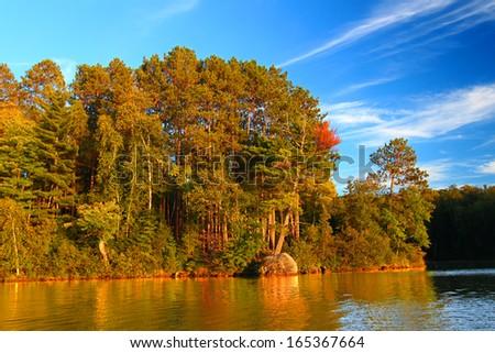 Sweeney Lake Northwoods Wisconsin - stock photo