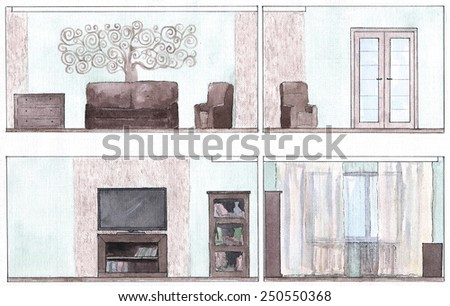 sweep walls of a living room
