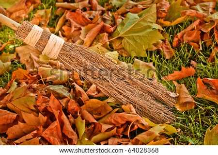 Sweeping autumn leaves with natural brush - stock photo