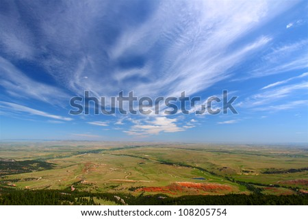 Sweeping view of the Wyoming countryside from the Bighorns National Forest - stock photo