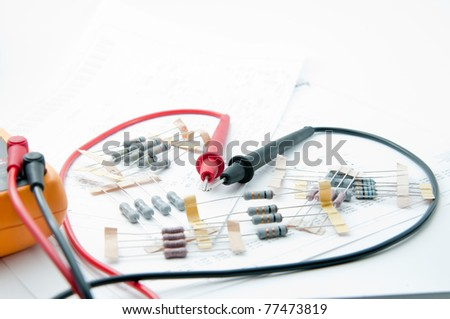 Sweer heart Multi-Meter and Component material - stock photo