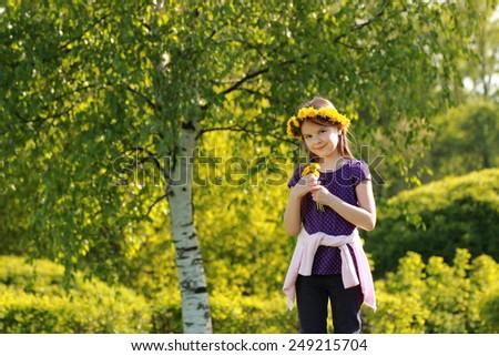 Sweet adorable girl outdoor - stock photo